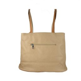 дамска чанта бяло бежово кафяво