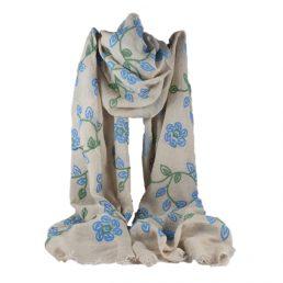 сив шал на цветя